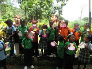 Children with solar lights